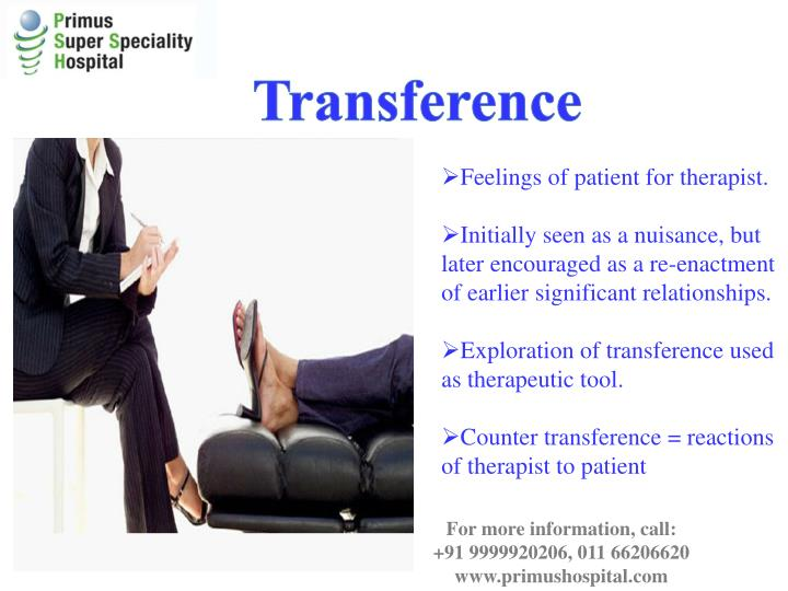 transference countertransference therapeutic relationship Lastly, transference and counter transference are elements that may occur in therapy that can affect the clinical relationship between counselor and client transference occurs in therapy when a client redirects emotions and feelings, often unconsciously, onto the therapist (feinstein, nd.