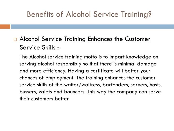 Benefits of alcohol service training