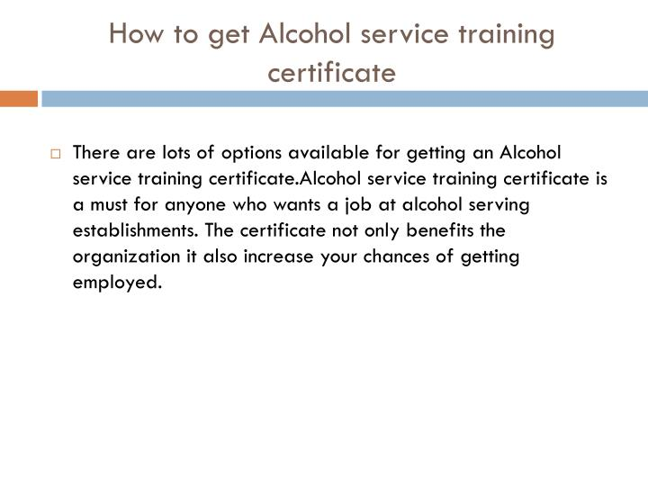 How to get Alcohol service training certificate