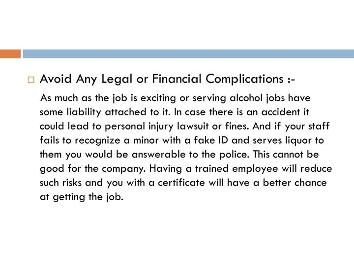 Avoid Any Legal or Financial Complications
