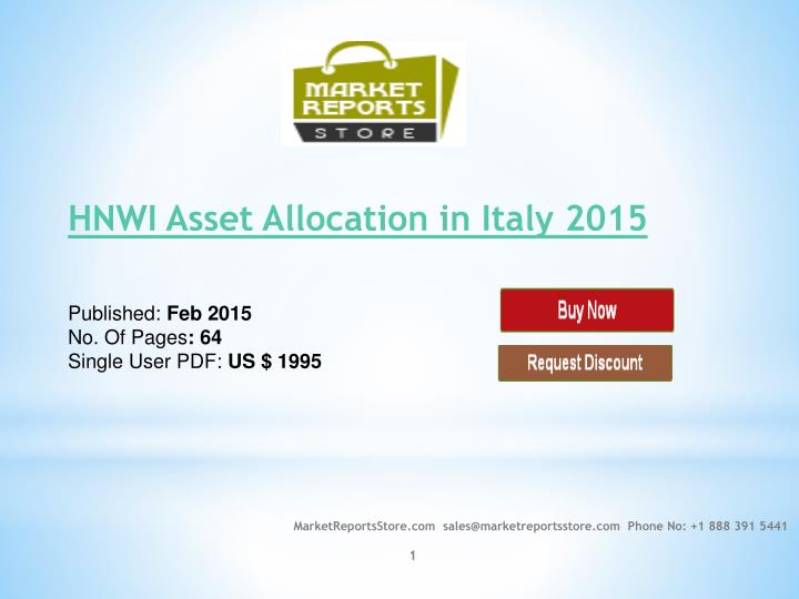 hnwi asset allocation in italy 2015 published feb 2015 no of pages 64 single user pdf us 1995 n.