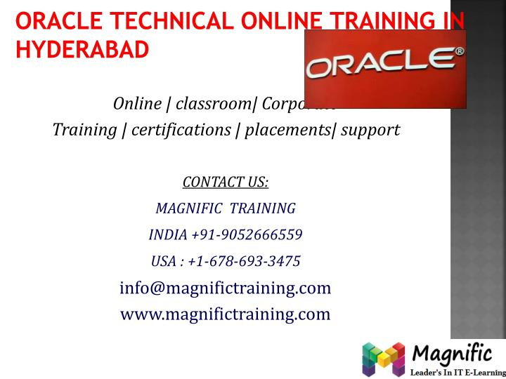 Oracle technical online training in hyderabad