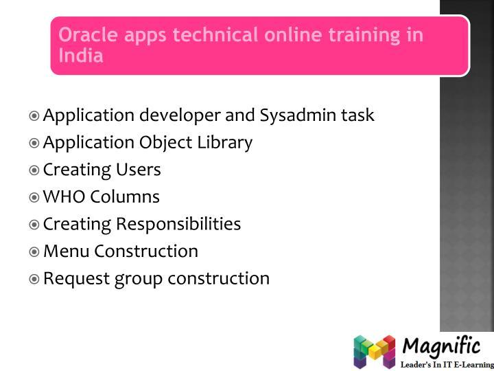 Application developer and Sysadmin task