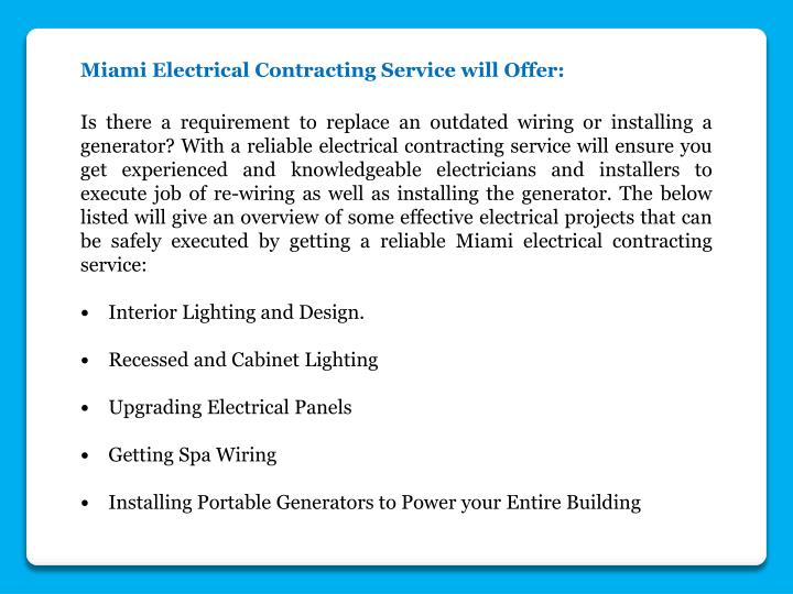 Miami Electrical Contracting Service will Offer: