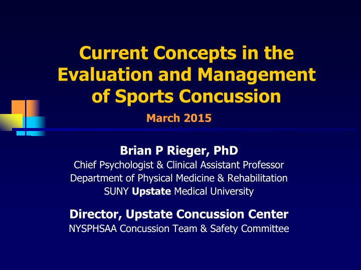 current concepts in the evaluation and management of sports concussion n.