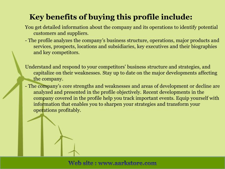 Key benefits of buying this profile include: