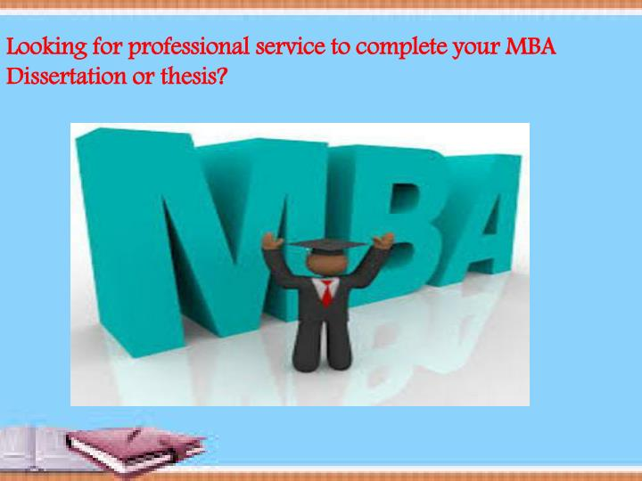mba dissertation or thesis