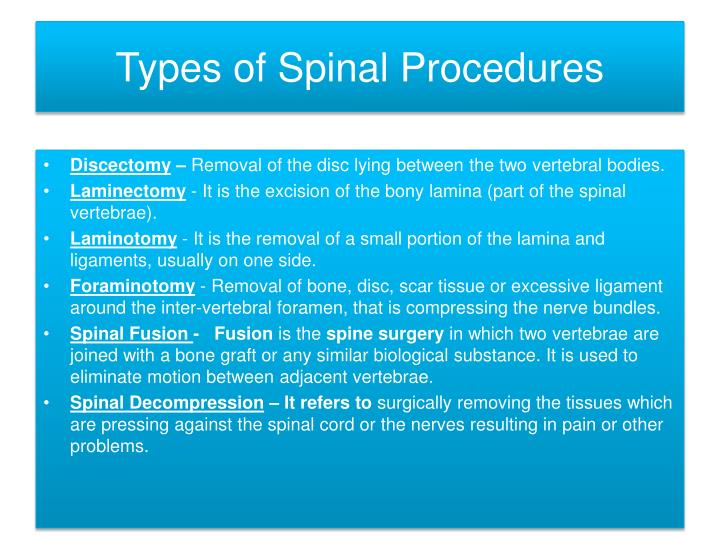 Types of spinal procedures