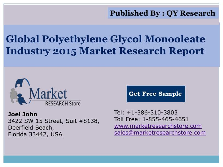 Global polyethylene glycol monooleate industry 2015 market research report