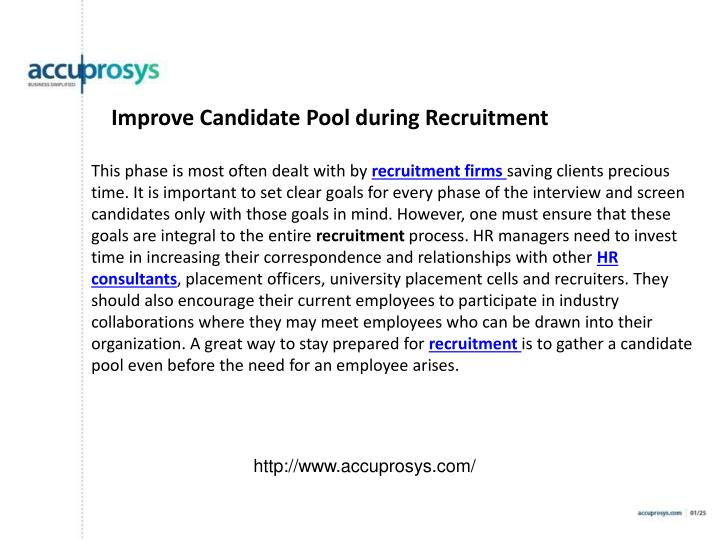 Improve Candidate Pool during Recruitment