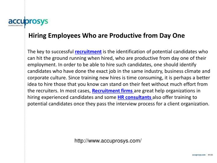 Hiring Employees Who are Productive from Day One