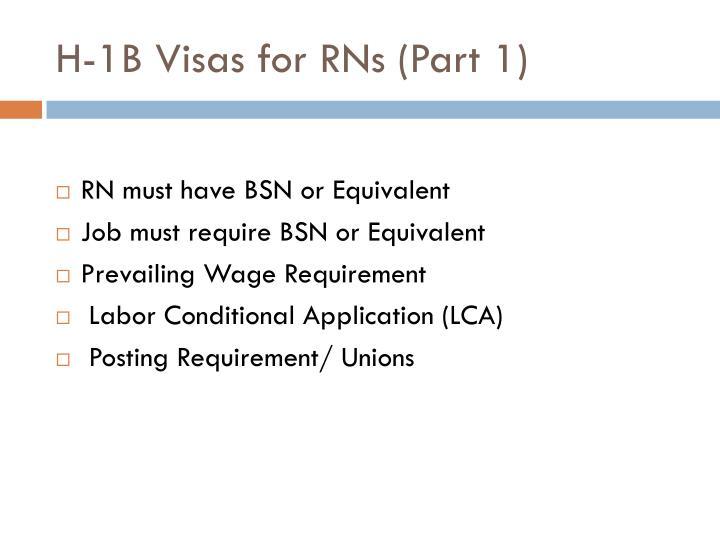 H-1B Visas for RNs (Part 1)
