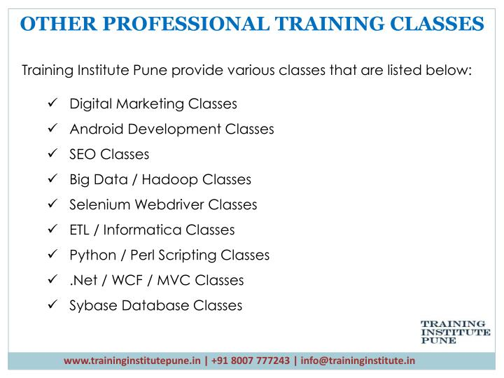OTHER PROFESSIONAL TRAINING CLASSES