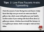 tips 2 low flow faucets arabic typesetting
