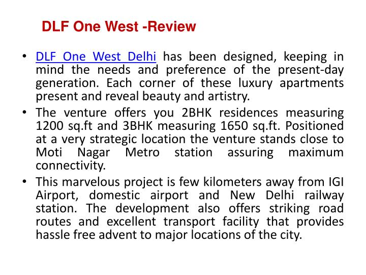 Dlf one west review