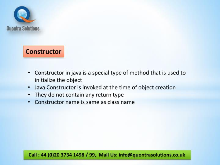 how to call constructor in java