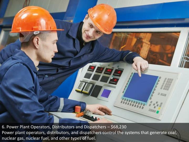 6. Power Plant Operators, Distributors and Dispatchers – $68,230