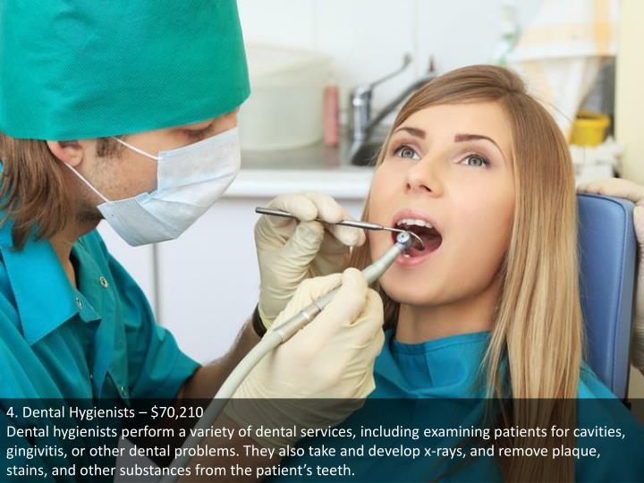 4. Dental Hygienists – $70,210