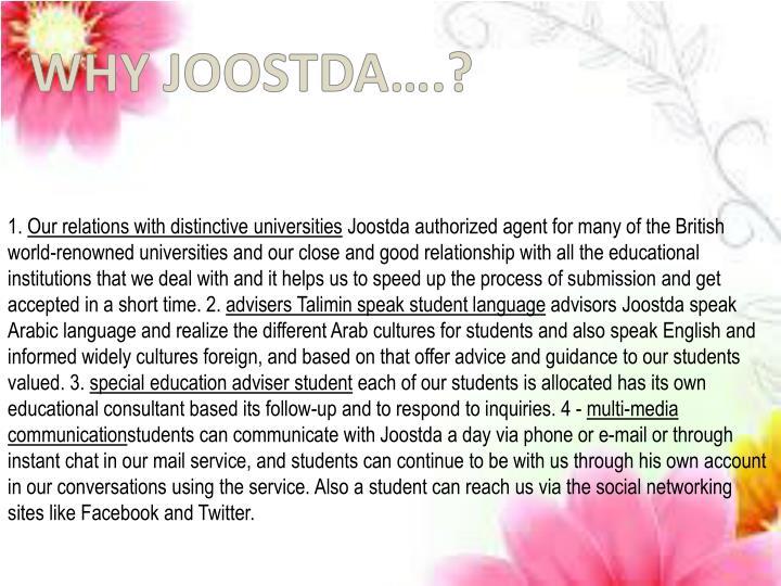 WHY JOOSTDA….?