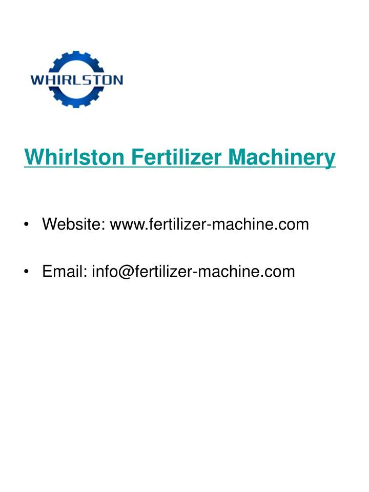 Whirlston fertilizer machinery