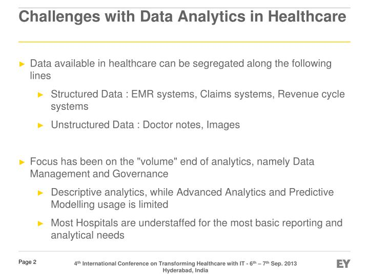 Challenges with data analytics in healthcare