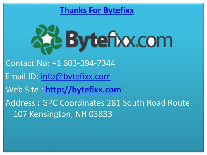 Thanks For Bytefixx