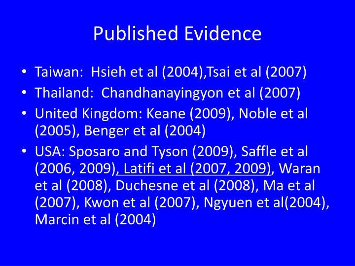 Published Evidence