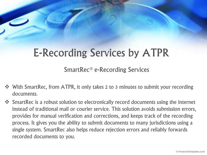 E recording services by atpr