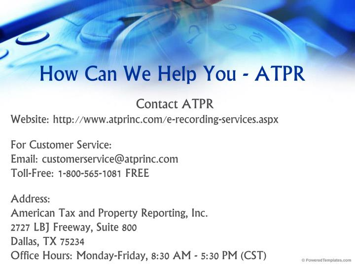How Can We Help You - ATPR