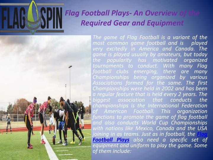 Flag football plays an overview of the required gear and equipment