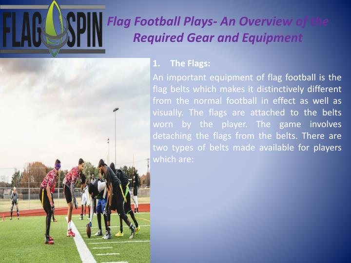 Flag football plays an overview of the required gear and equipment1