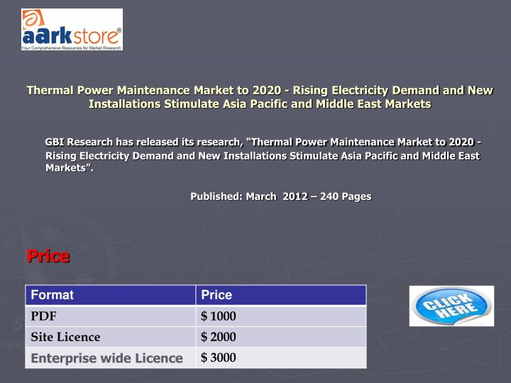 Thermal Power Maintenance Market to 2020 - Rising Electricity Demand and New Installations Stimulate Asia Pacific and Middle East Markets