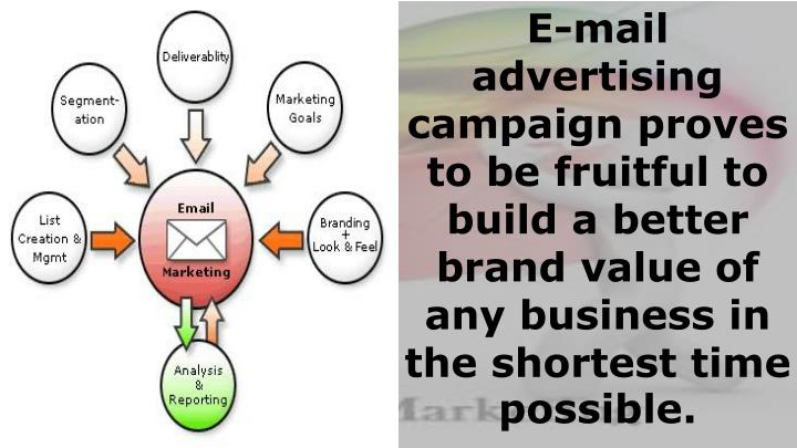 E-mail advertising campaign proves to be fruitful to build a better brand value of any business in the shortest time possible.