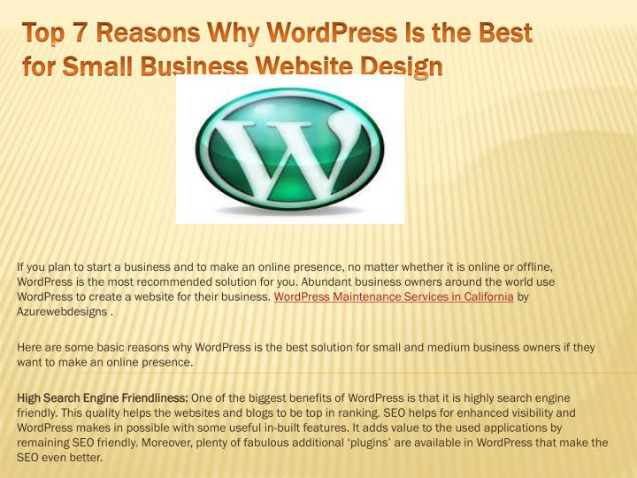 top 7 reasons why wordpress is the best for small business website design n.