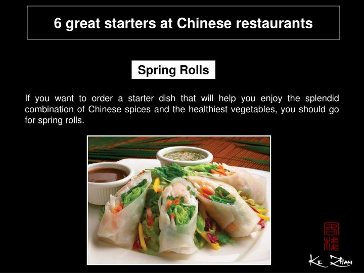 Great Starters At Chinese Restaurants