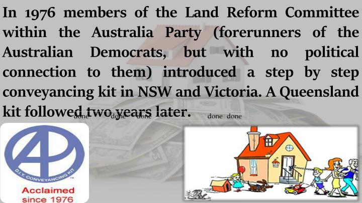 Ppt conveyancing melbourne powerpoint presentation id7151270 but with no political connection to them introduced a step by step conveyancing kit in nsw and victoria a queensland kit followed two years later solutioingenieria Gallery
