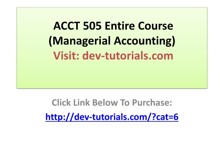 managerial accounting acct 505