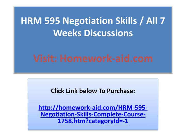 hrm 595 62172 negotiation skills