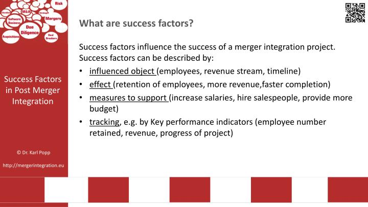 project success success factor and success Critical success factors are the underlying principles which should be followed in a project - without which, the chances of project success will be much lower some folks may think critical success factors as just fluff, compared to things like project objectives, scope and change control mechanisms.