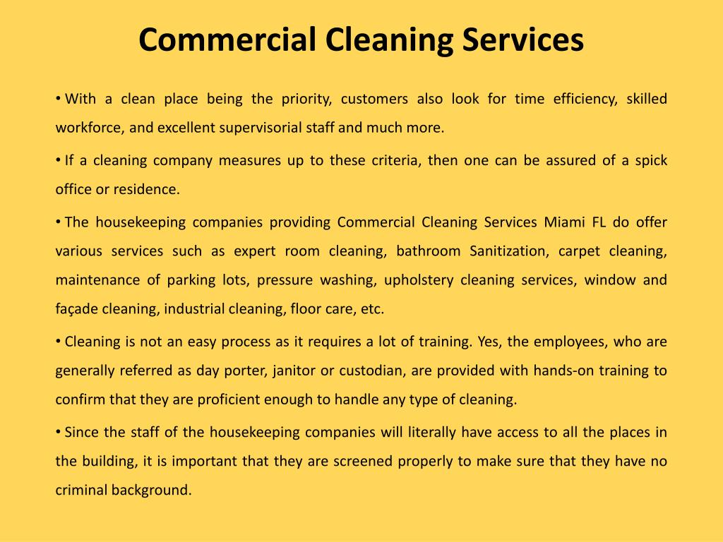 Ppt Commercial Cleaning Services Miami Fl Powerpoint