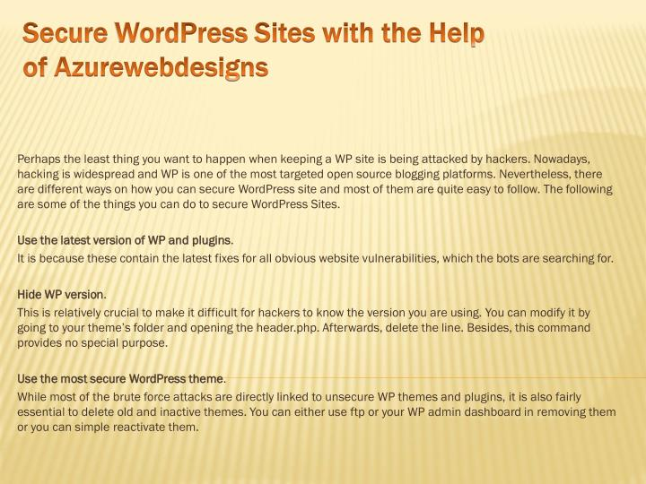 secure wordpress sites with the help of azurewebdesigns n.