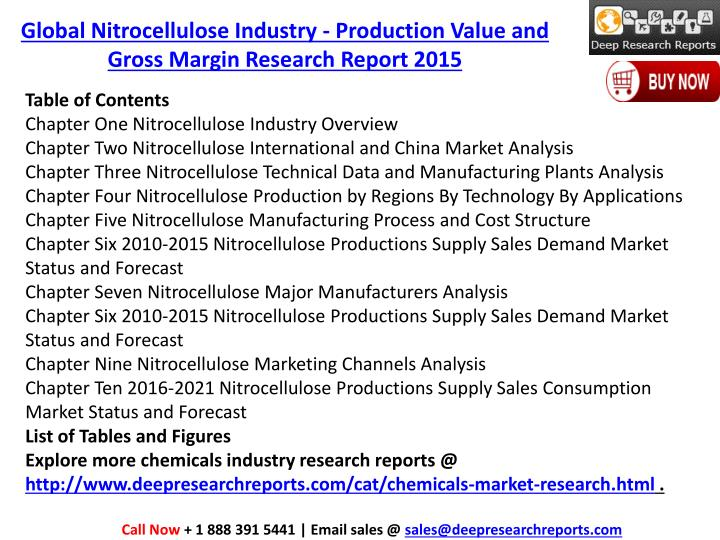 Global Nitrocellulose Industry - Production Value and Gross Margin Research Report 2015