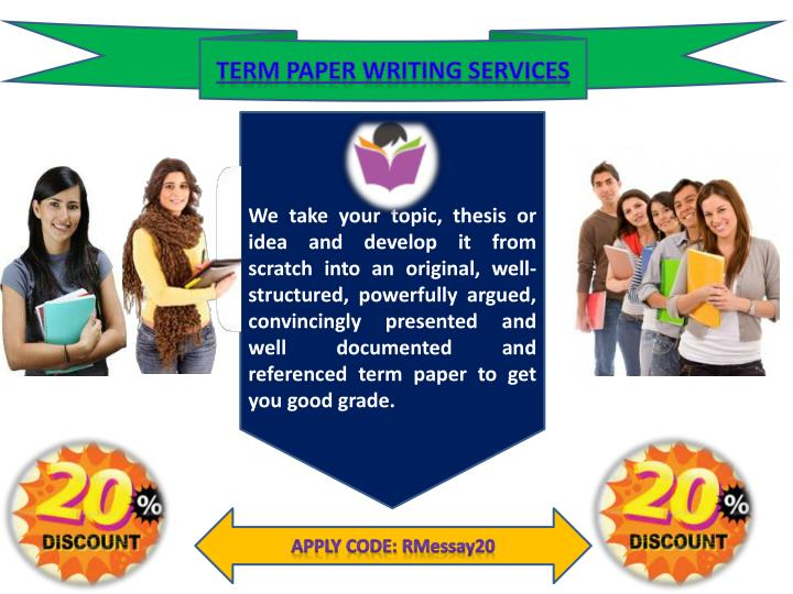 term paper sevices Essayoneday provides students with professionally written essays, research papers, term papers, reviews, theses, dissertations and more once you use essayoneday for your paper writing needs, you won't need to try any other services.
