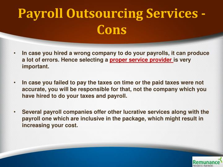 Payroll Outsourcing Services - Cons