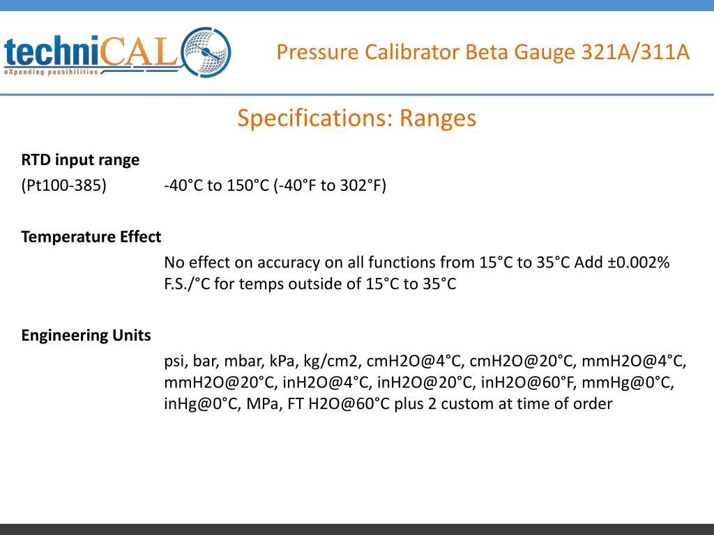 PPT - Pressure Calibrator Beta Gauge 321A/311A PowerPoint