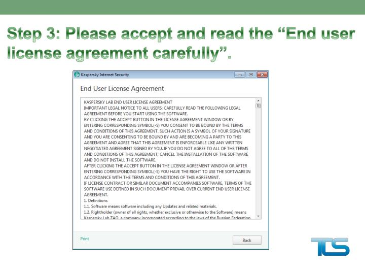 Step 3: Please accept and read th