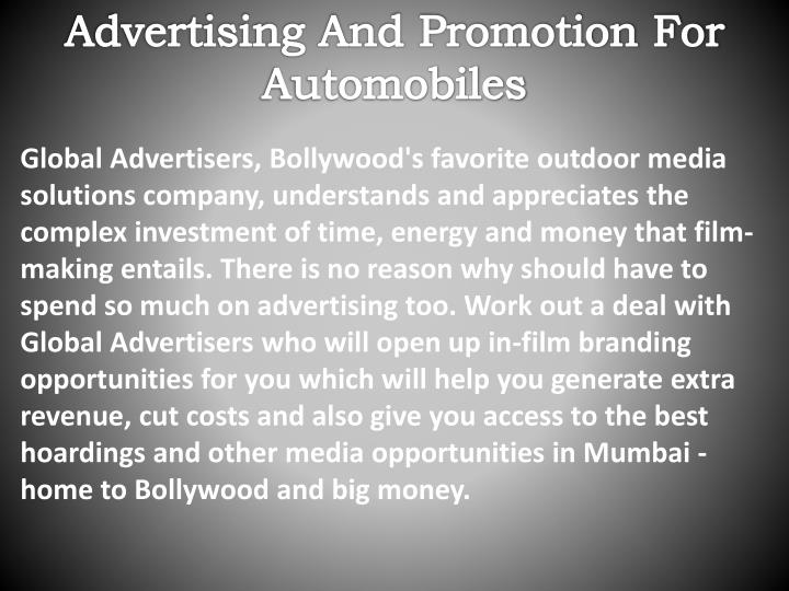 Advertising And Promotion For Automobiles