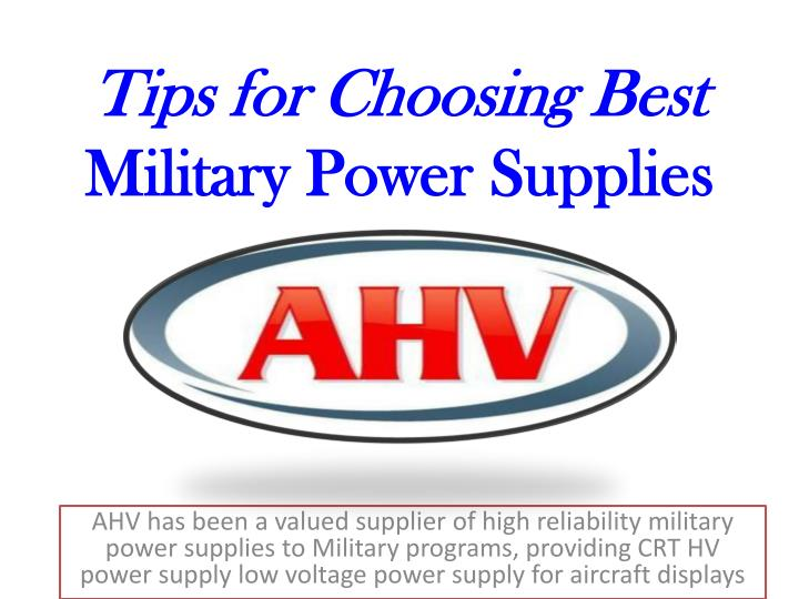 Tips for choosing best military power supplies