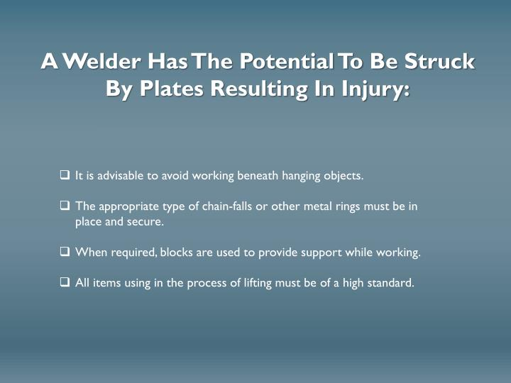 A Welder Has The Potential To Be Struck By Plates Resulting In Injury: