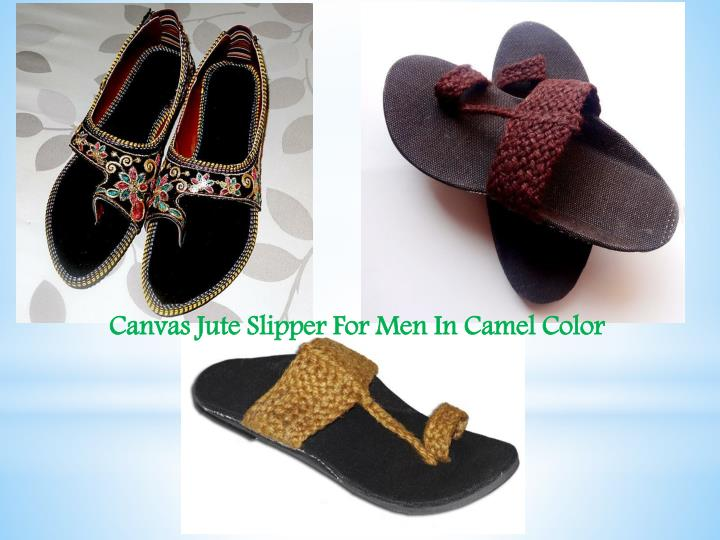 Canvas Jute Slipper For Men In Camel Color